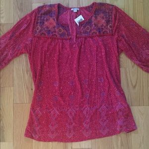 NWT Lucky Brand Pink Cotton Blend Tunic